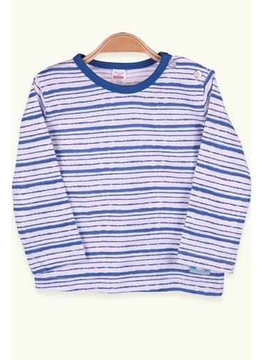 Breeze Erkek Bebek Uzun Kollu Tişört Patlı Çizgili Mavi (9 Ay-3 Yaş) Mavi